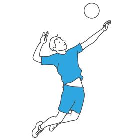 バレーボールをする男性
