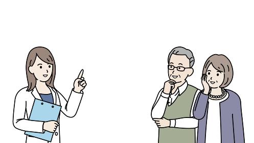 老夫婦に説明する医師 女医 患者 シニア 年配 高齢者 イラスト素材