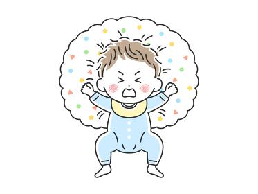授乳クッションで寝転んで泣いている赤ちゃんのイラスト