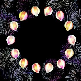 提灯 花火 夏 祭 背景 フレーム 水彩 イラスト