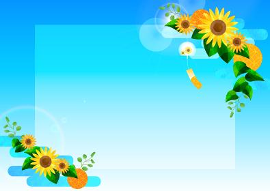 Japanese-sunflower-Frame-ひまわりと青空と風鈴の背景、フレーム