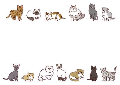 いろいろな種類のかわいい猫たちの横長イラストフレーム