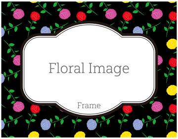 カラフルな草花のメッセージカード 背景 フレーム