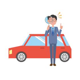 車をチェックする男性