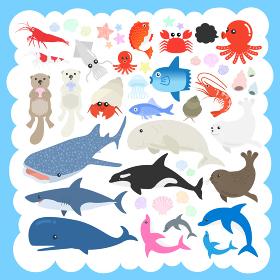 海の生物のイラストセット