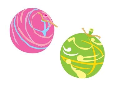 お祭りのヨーヨー釣りのピンクと緑のヨーヨー