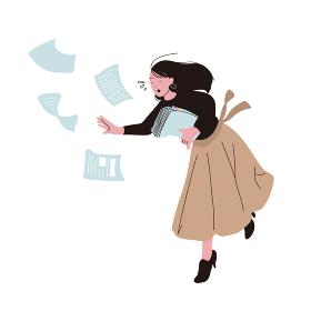 慌てるオフィスカジュアルな人々のイラスト 転ぶ書類を持った女性