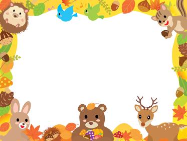 秋の葉っぱや食べ物とかわいい森の動物たちのフレーム