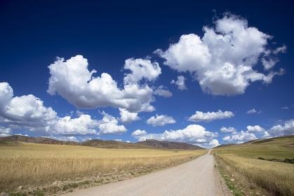 ペルー 聖なる谷の麦畑と雲と道
