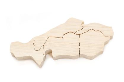 中国地方の木製地図