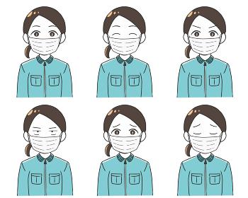 作業員 女性 マスク 表情バリエーション