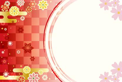 鮮やかな美しい和柄のフレーム 年賀状