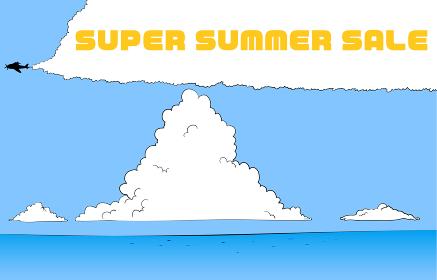 夏の青空と入道雲と海のイラスト サマーセール