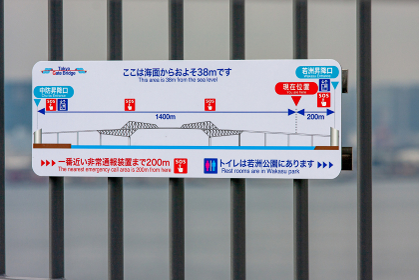 東京ゲートブリッジの歩行者用の案内標識(江東区・東京)