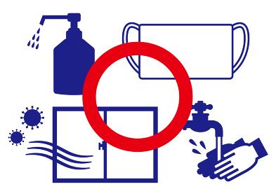 【COVID-19 新型コロナウイルス関連イラスト素材】小まめな手洗い・消毒・換気・マスクを推奨