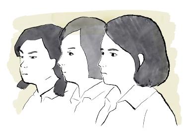 水彩人物イラスト)女性差別に憤りを感じる少女たち 横顔 怒り 不平等 ジェンダー フェミニズム