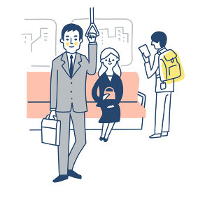 電車の車内と乗客