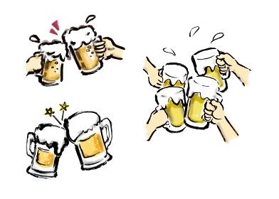 手描きのビールで乾杯しているいろんなイラスト素材