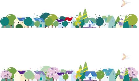 春と新緑の町並み