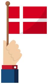 手持ち国旗イラスト ( 愛国心・イベント・お祝い・デモ ) / デンマーク