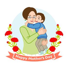 息子を抱きしめる眼鏡の母親- 母の日コンセプトイラスト