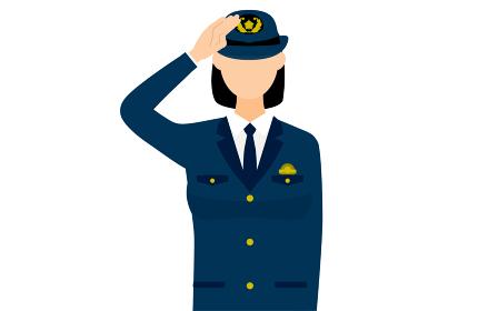 若い女性警官のポーズ、敬礼