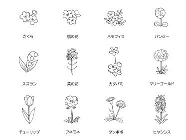 春の花の線画 アイコンセット モノクロ