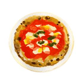 マルゲリータピザの水彩イラスト