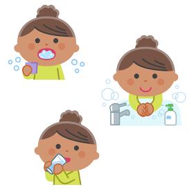 感染症予防/うがい、手洗い、水分補給をする女の子/輪郭線なし
