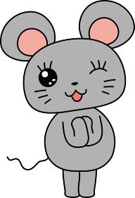 干支 十二支 ネズミ かわいいポーズ マスコットキャラクター 年賀状