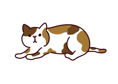 シンプルかわいい猫・寝そべる三毛猫のイラスト