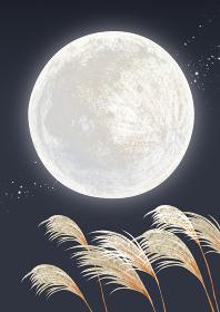 十五夜 お月見 満月 背景 水彩 イラスト