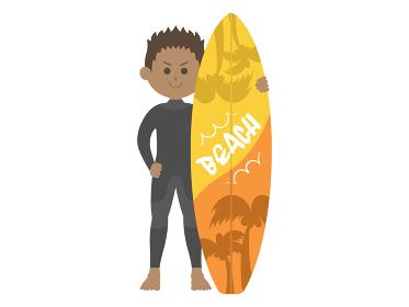 ウェットスーツを着た男性サーファーのイラスト