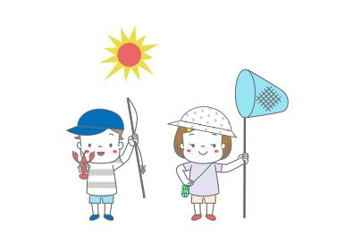 ザリガニ釣りと虫取りをする子供たちと太陽