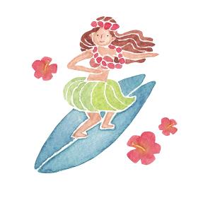 フラガール サーフィン 人物 女性 水彩 イラスト