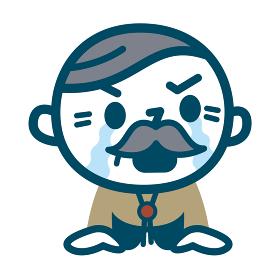 涙を流すシニア男性