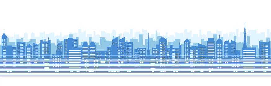 ビルのある都市風景のイラスト(青のシルエット)