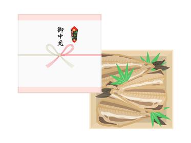 魚の干物の御中元のイラスト