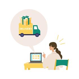 ネットショッピングをする女性 イラスト