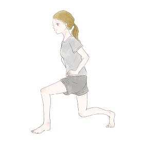 アキレス腱を伸ばすストレッチをする女性