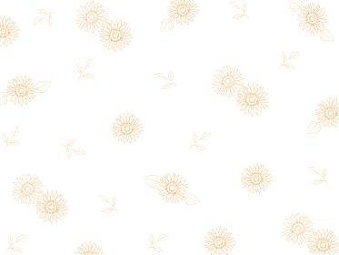 ひまわりの線画の花柄 ラインアート