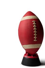 Brown American football on tee