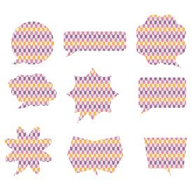 イラスト素材:和風和柄の矢絣文様漫画コミックの吹き出しのイラストセット9種ベクターデータ