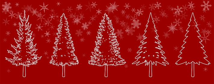 もみの木、クリスマスツリーの素材セット(線画)