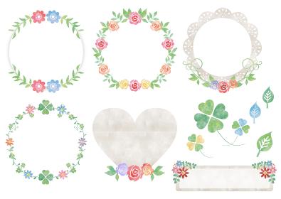水彩花と葉_フレームセット296
