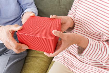 プレゼントを渡す高齢の夫婦