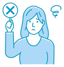 ○×プレートを手に持つ若い女性のイラスト(上半身) / バツ・ペケ