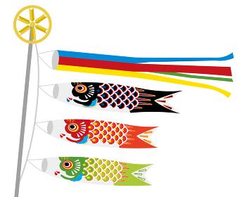 子供の日こどもの日端午の節句用イラストバナー|吹き流しと鯉のぼり白背景
