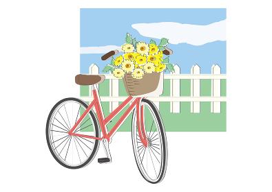 自転車カゴひまわり 夏の風物詩