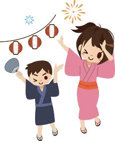 日本の夏祭り 浴衣を着た男女